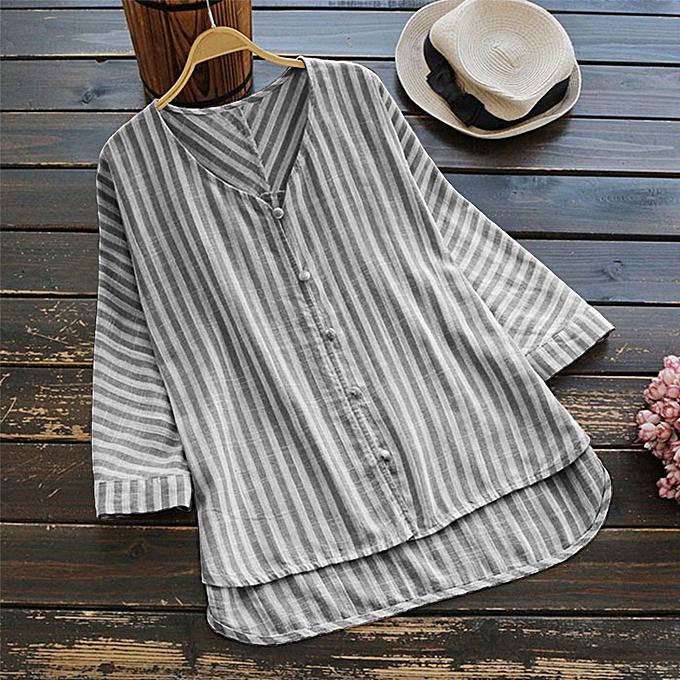 af061f1acc9 Fashion ZANZEA Women Autumn Striped V Neck Tops Casual Loose Shirt ...