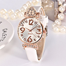 Women Ladies Wrist Watch With Rhinestones Vintage Dress Quartz Wristwatch white