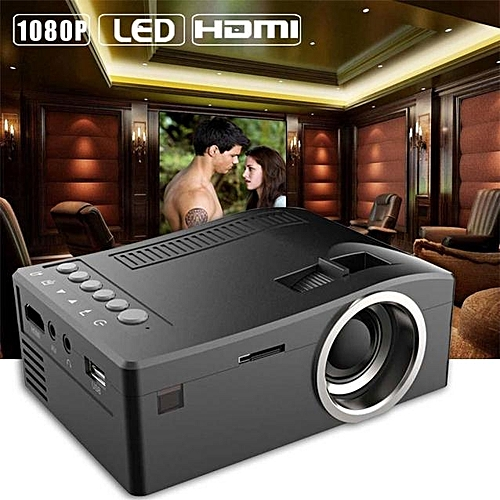 Delicate 1080P HD LED Home MulitMedia Theater Cinema USB TV VGA SD HDMI Mini Projector BK - Black