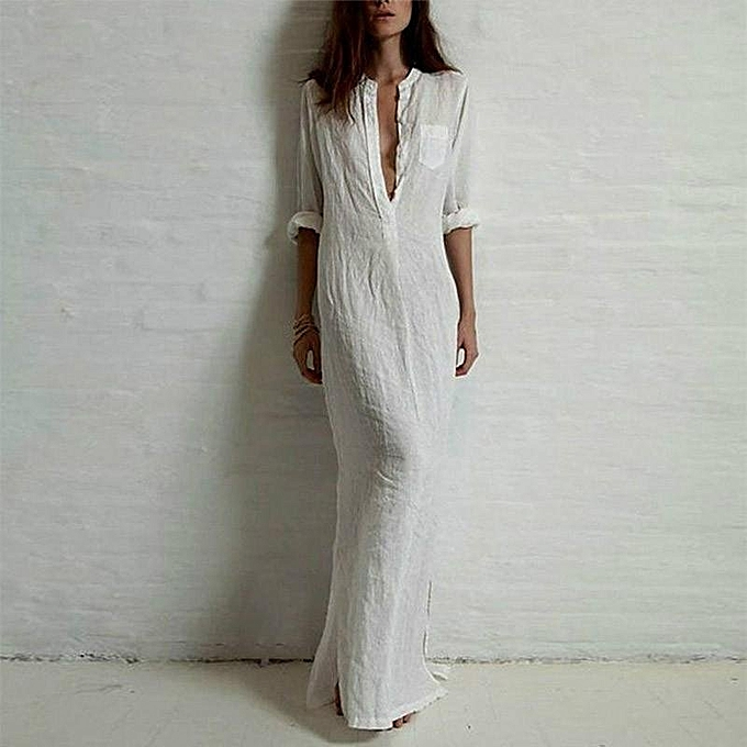 aaaa6816f0 ZANZEA Fashion Women Summer Long Sleeve Dress Plus Size Vestidos Linen  Split Solid Long Maxi Deep