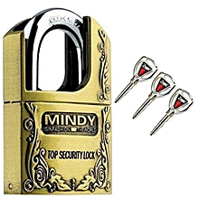 Secure Mindy Padlock Size - Large 70mm- Goldish Brown- Made of Steel
