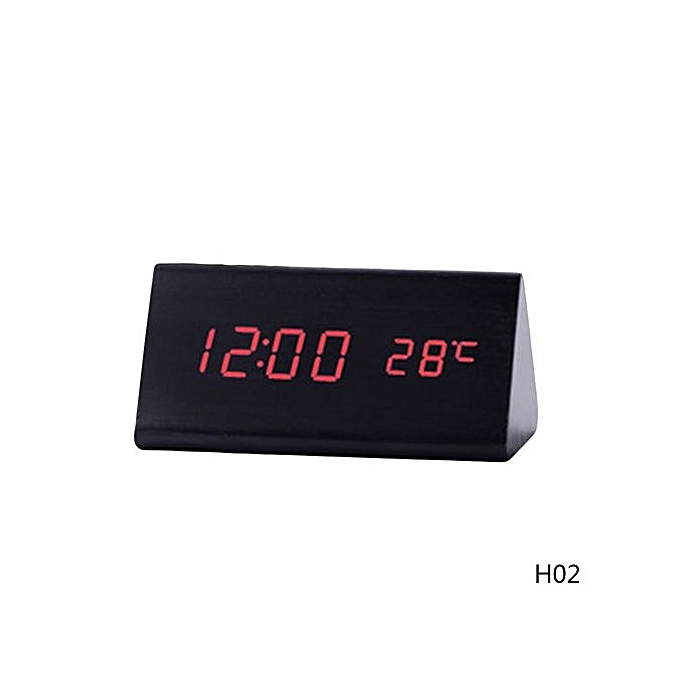 Hequeen Triangle Wooden Model Creative Clocks Led Digital Desk Clock Bedside Alarm Electronic Watch Square
