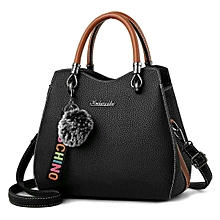 Posh Synthetic Leather Hand Bag-Black