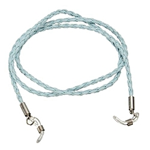 Fashion Black Leather Eyeglass Glasses Cord Holder Necklace Chain Strap Blue