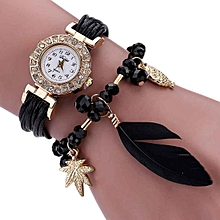 Africashop Bracelet  Watch Feather Weave Wrap Around Bracelet Watch  Crystal Synthetic Fashion Chain Watch - Black