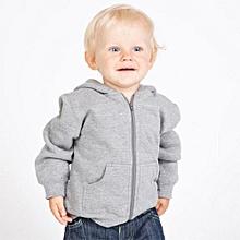 Light grey zipped plain kids hoodie