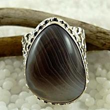 Botswana Agate Semi Precious Gemstone in 925' Sterling Silver Ring Size 7.