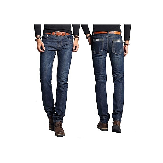 52fdaf0c83b Dark Blue Designer Brand Men Jeans Shinny New Fashion Mens Casual Cotton  Slim Straight High Elasticity