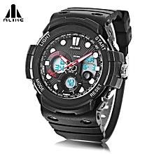AK16121 Dual Quartz Digital Men Watch LED Stopwatch 5ATM Sport Wristwatch-Red-Red