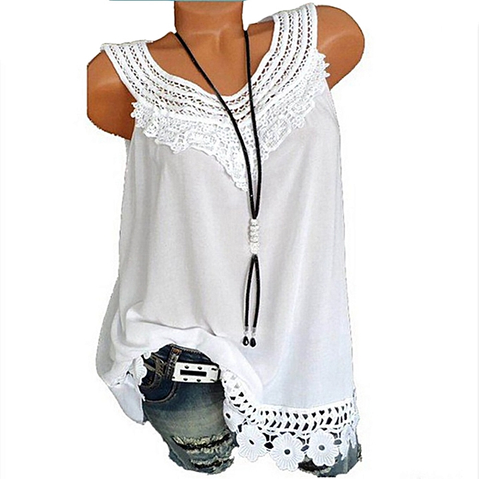 7fc55bf5066 ... Generic Women O-Neck Sleeveless Pure color Lace Plus Size Vest Tops  Loose T- ...