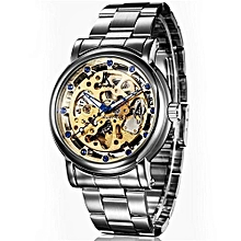 New Famous Brand Watch Automatic Mechanical Skeleton Wrist Whatch Men's Luxury Gold Dial Steel Strip Wristwatch(Gold)