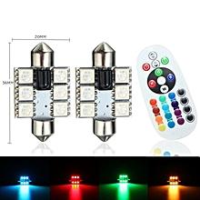 2x RGB Car LED Panel Interior Lamp Festoon Dome Reading Light Bulb 36mm