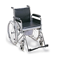 Foldable Commode Standard Wheelchair - Black