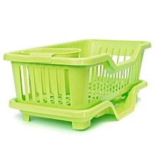 4-Color Kitchen Dish Sink Drainer Drying Rack Wash Holder Basket Organizer Tray Green
