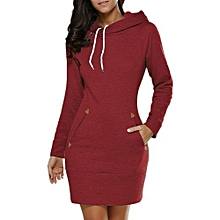 Wine Red Over Knee Hooded Mini Dress