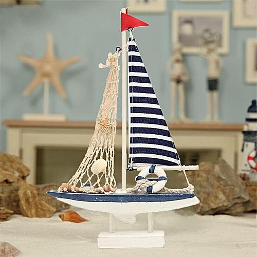 New Marine Nautical Decor Wooden Blue Sailing Boat Ship Party Home Decor Small
