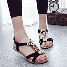 Hiamok_Fashion Women Boho Sandals Leather Flat Sandals Ladies Shoes  Black/39