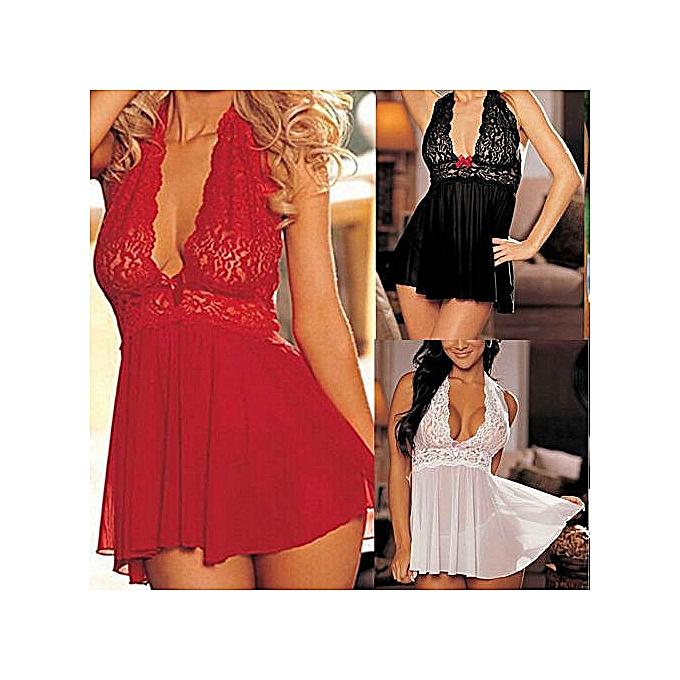 6e6c4dce548bac Womens SEXY Lace Lingerie Night Underwear G-string Babydoll Sleepwear Dress