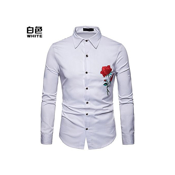 7ad9808de28 Fashion Men Shirt Clan Wind Rose Embroidery Casual Slim Fit Male Shirts  Turn-Down Collar