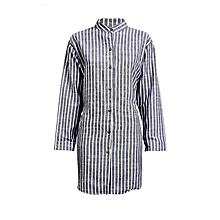 Black Long Sleeved Striped Dress Shirt