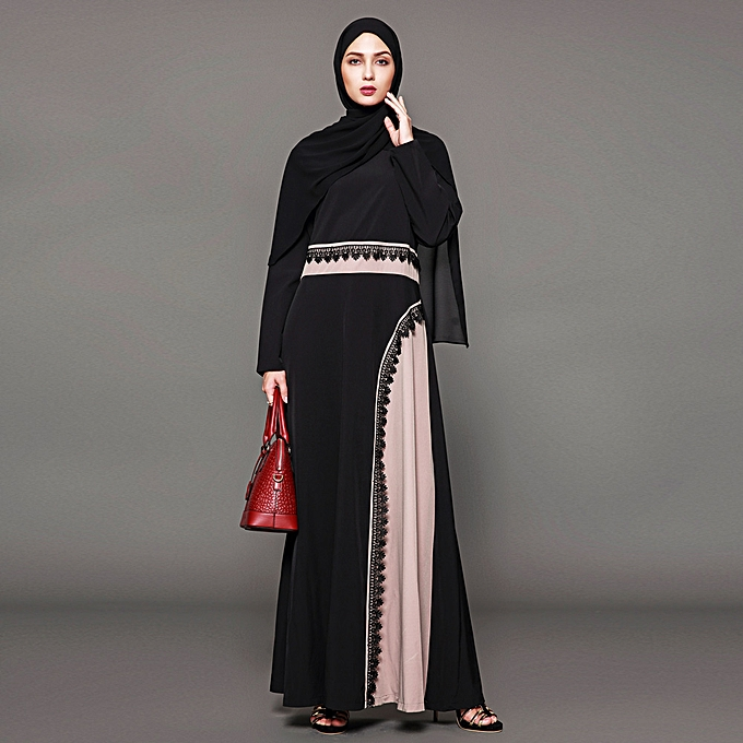 c8198fd21a Muslim Women Plus Size Maxi Dress Crochet Lace Splice O Neck Long Sleeves  Abaya Islamic Robe