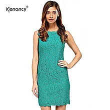 Elegant Cocktail Floral Lace Dress Sexy Sleeveless Full Zip Back Eyelash Lace Side Work Office Wedding Stretch Bodycon Slim Pencil Dress - Green