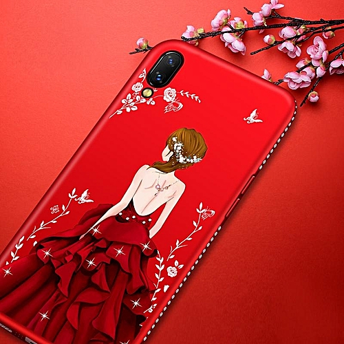 Generic For Vivo V11 Pro Case Goddess Beauty Girl Silhouette Diamond Coloured Drawing Back Cover Secret Garden Glitter Fashion TPU Silicone Phone Case for ...