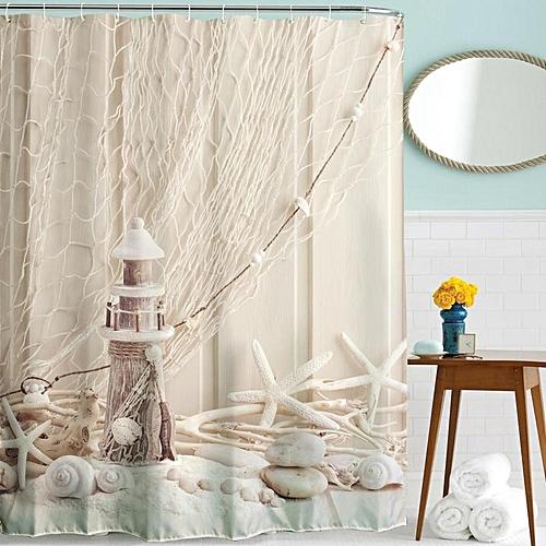 Generic Waterproof Mildew Shower Curtain 3D Digital Oil Painting Printing 180x180cm Best Price