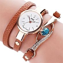 guoaivo  CCQ Women Fashion Casual Analog Quartz Women Rhinestone Watch Bracelet Watch BW -Brown