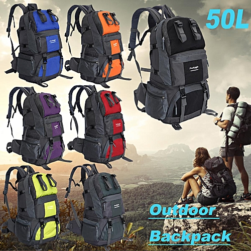 ab9aa52fd311 Generic Details about  50L Outdoor Backpack Travel Camping Hiking Bag  Waterproof Mountaineering Pack UK Black