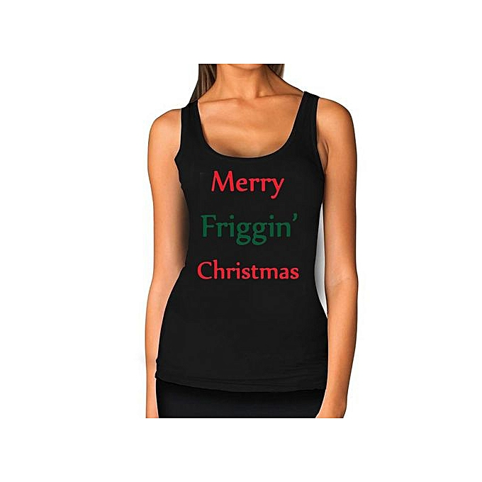 Funny Christmas Tank Tops.Womens Summer Casual Tanks Letter Funny Holiday Merry Friggin Christmas Printed Vest Top Sleeveless Blouse Casual Tank Tops T Shirt