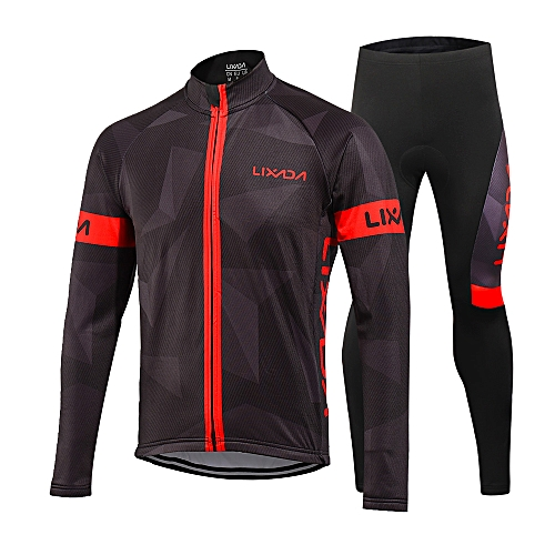 9ace8e904 Generic Lixada Men s Winter Thermal Fleece Cycling Clothing Set Long Sleeve Windproof  Cycling Jersey Coat Jacket with 3D Padded Pants Trousers