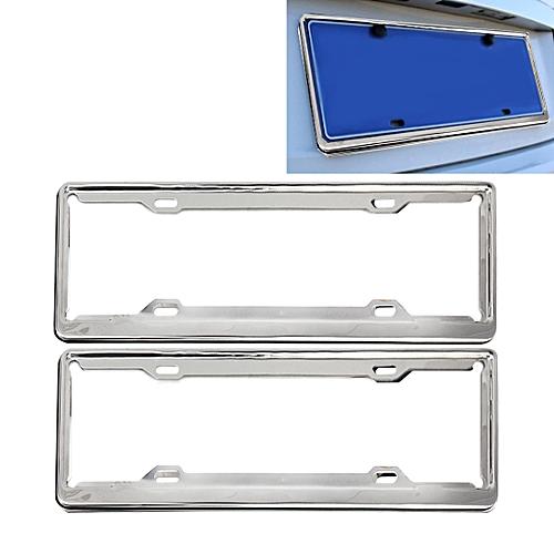 2 Pcs Stainless Steel License Plate Frame Car Holder