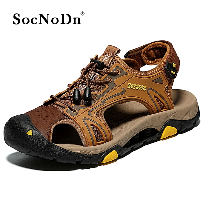 9084c2df8ac5 SocNoDn Men Fashion Casual Male Leather Summer Shoes Sandals Brown ...