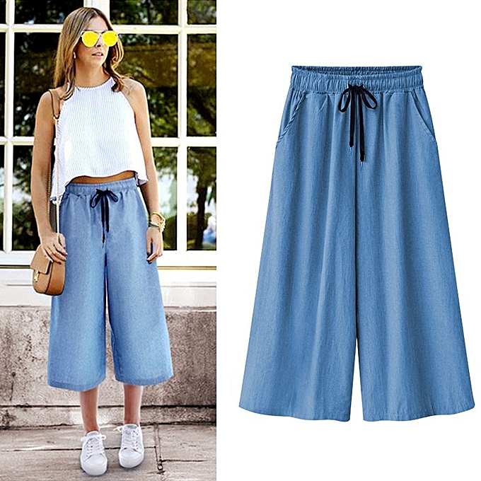 db9faeddb338 Straight Fit Casual Wide Leg Denim Pants Women Jeans Cropped Dee Pants  Female Trousers