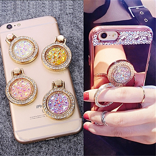90717acfc69af Luxury Diamond Finger Ring Holder Crystal Rhinestone Glitter Mirror Case  With Gem Holders Stand For iphone X 6 7 8 plus Samsung KANFU