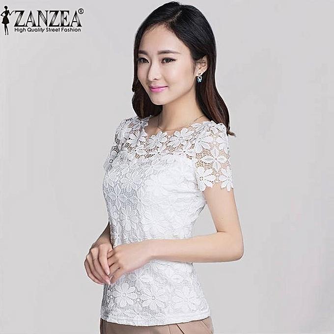 a1a9e115c2b ZANZEA Fashion Summer Women Floral Lace Slim Blouses Shirts Elegant Casual  Short Sleeve Tee Tops Blusas
