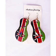 Leather slippers shaped earring with Kenyan Flag colours