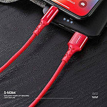 S-M364 Lighting USB Cable Charging Intellgent Power Off For Apple IPhone 6 7 8 Plus X Red 2m