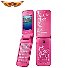 C3520 2.4 Inch 3G WCDMA Flip Phone Cellphone - Pink With Flower