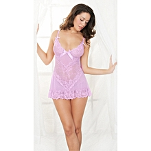 Barely There Sexy Pink Flower Lace Camisole Babydoll
