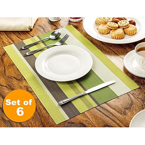Awesome Vinyl Placemats For Kitchen Table Stripe Heat Resistant Table Mats Non Slip Place Mats For Dining Table Set Of 6 Green Stripe Download Free Architecture Designs Scobabritishbridgeorg