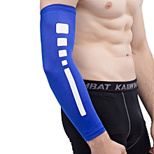 Men Outdoor Sports Elastic Breathable Anti-skid Elbow Arm Sleeve UV Protective Gear, Size: M (Blue)