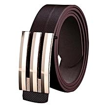 Men Women Automatic Buckle Leather Waist Strap Belts Buckle Belt-Coffee