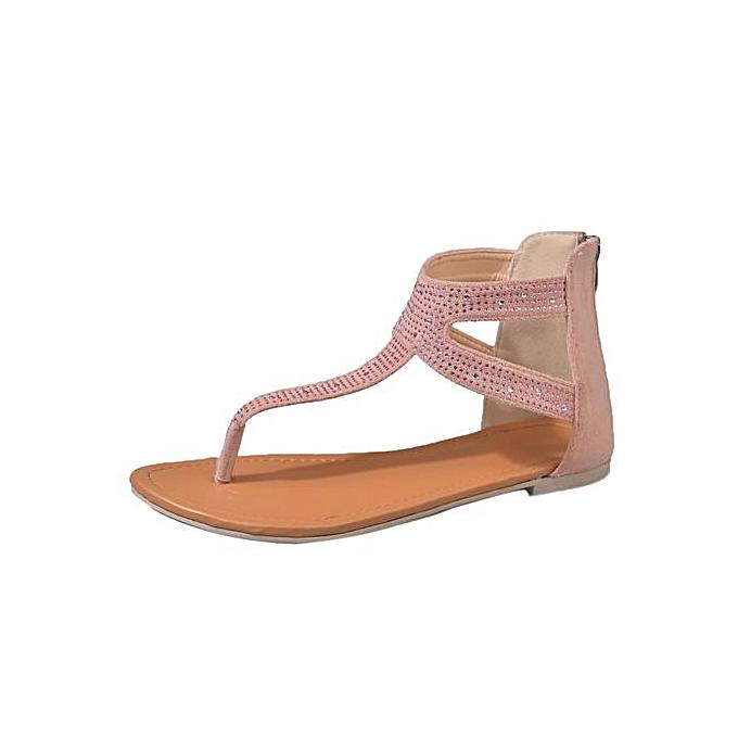 e6c53d97a LightningWomen Diamond Zipper Gladiator Low Flat Flip Flops Beach Sandals  Bohemia Shoes - Pink ...