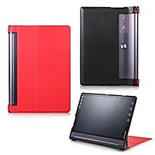 For Lenovo Yoga Tab 3 Pro 10.1 Case, Ultra Slim Hard Case + PU Leather Smart Cover Stand For Yoga Tab3 Plus YT-X703/YT3-X90, Red