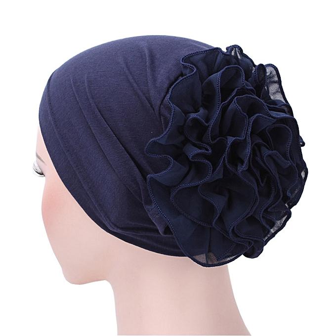 1f58ca0cfff8d Zetenis Women Flower Muslim Ruffle Cancer Chemo Hat Beanie Scarf Turban  Head Wrap Cap -Navy