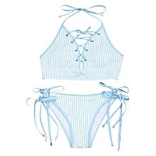 Tie Side Striped Lace-up Bikini Set