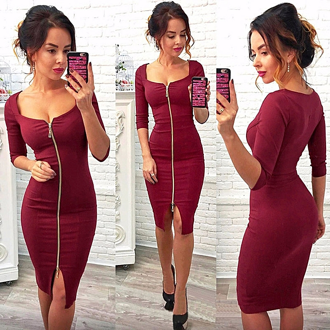 Women Autumn Winter Y Zipper Office Wear Dress Evening Party Dresses