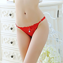 Great Sexy panties ladies adjustable lace low waist hot transparent temptation large size thong pants t pants-red